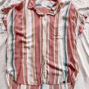 American Eagle Stripped Shirt Sleeve Button Up